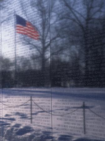 American Flag Reflected in the Vietnam Memorial, Washington, D.C.