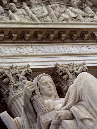 Closeup of a Statue at the Supreme Court Building, Washington, D.C.