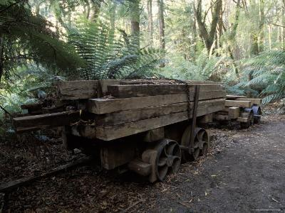 Abandoned Antique Railway Carriage Carrying Train Track Sleepers, Australia