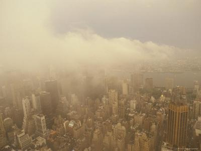 Aerial of New York City Architecture and Bay with Menacing Icy Storm