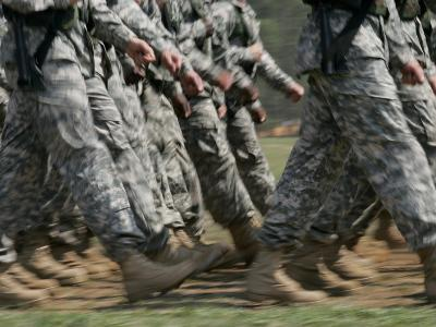 Army Rangers Marching in Formation with Blur