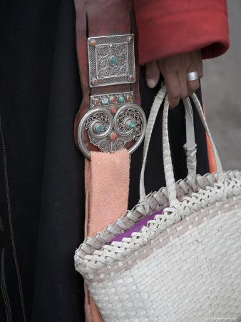 Close-Up of a Woman in Traditional Clothing Holding a Basket Purse, Qinghai, China