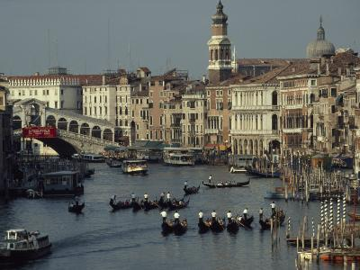 Boats Crowd the Grand Canal of Venice, Italy