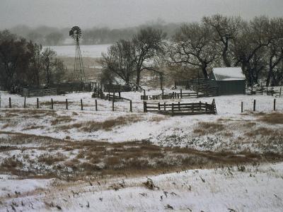 Kansas, Winter Farm Scene, Snowy Weather