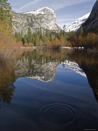 Fall Colors and Mount Watkins Reflecting in Mirror Lake, California
