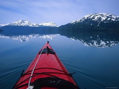 Exploring in a Sea Kayak a Calm Bay Off the Prince William Sound, Alaska