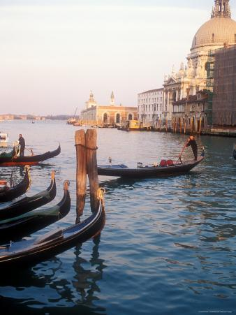 Gondoliers on the Grand Canal at Sunset, Venice, Italy