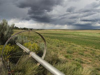 Farm Irrigation Sprinklers Next to a Hay Field in Western Clorado, Colorado