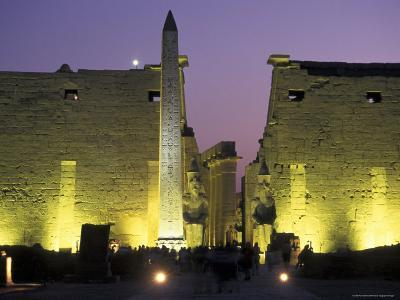Luxor Temple with Obelisk and Entrance to Pylon at Luxor, Egypt