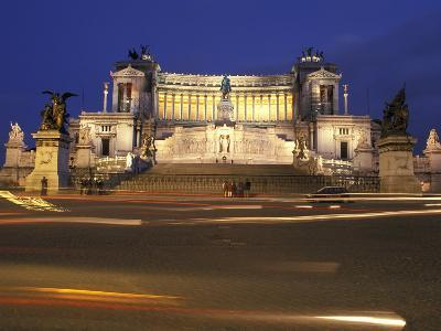 Night Shot of the Monument to Vittorio Emanuele II at the Piazza Venezia in Rome, Italy