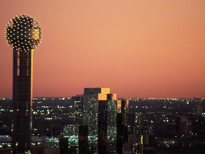 Reunion Tower and City Skyline at Dusk in Dallas, Texas
