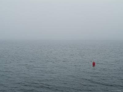 Red Buoy Floating on Block Island Sound in the Fog, Rhode Island
