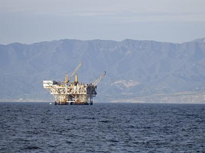 Oil Rig in the Santa Barbara Channel and the Santa Ynez Mountains, California