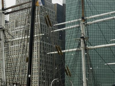 New York Skyline Behind Two Old Sailing Ships at South Street Seaport