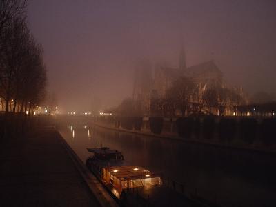 Night View Across the Seine Towards Notre Dame and the Ile de la Cite, Paris, France