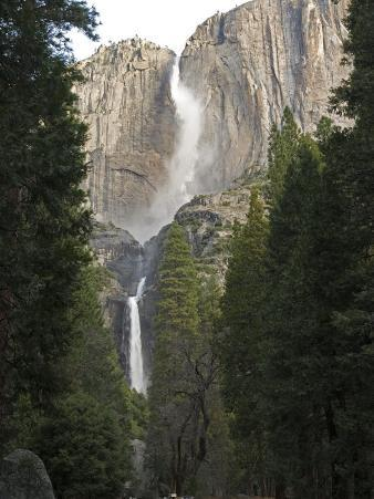 Upper and Lower Yosemite Falls in the Winter, California
