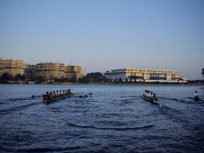 Two Crew Teams Row Side by Side on the Potomac River, Washington, D.C.