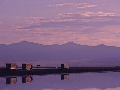 Trucks on the Highway Reflected in Great Salt Lake, Utah