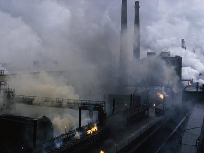 Smoke Spews from the Coke-Production Section of Poland's Lenin Steel Mill