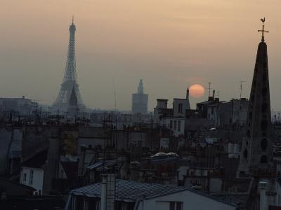 Unusual View of the Eiffel Tower at Twilight, Paris, France
