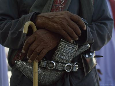 Traditional Omani Dagger, The Khanjar, in an Ornate Silver Sheath