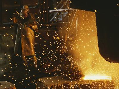Sparks Fly from a Steel Furnace, Utah