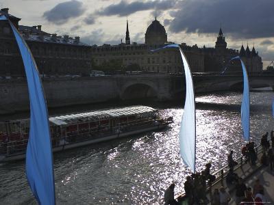 View of Seine River with Ile-De-La Cite in Background, Paris, France