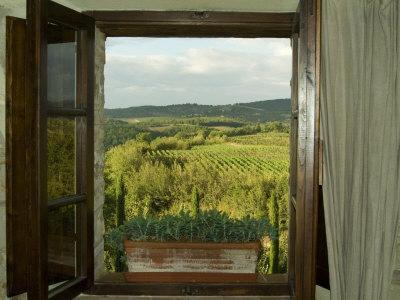 Window Looking Out Across Vineyards of the Chianti Region, Tuscany, Italy