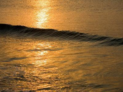Waves Break at Sunset Along the Waterfront, Cozumel, Mexico