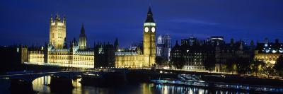 Westminster Bridge, Big Ben, Houses of Parliament Lit Up at Dusk, Westminster, London, England