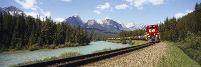 Train on a Railroad Track, Morant's Curve, Banff National Park, Alberta, Canada