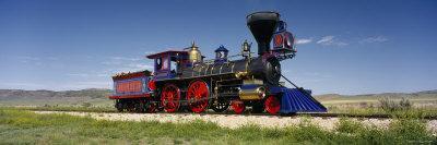Train Engine on a Railroad Track, Jupiter, Golden Spike National Historic Site, Utah, USA