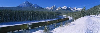 Train on a Railroad Track, Banff National Park, Alberta, Canada