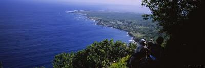 Men Riding Mules, Pacific Ocean, Kalaupapa, Molokai, Hawaii, USA