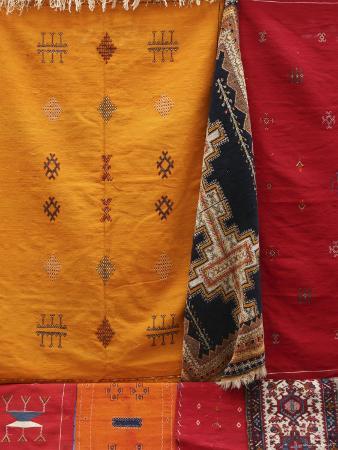 Morocco, Essaouira, Medina, Carpets Hanging Ouside Shop
