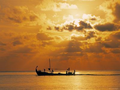 Boat at Sunset, Maldives, Indian Ocean