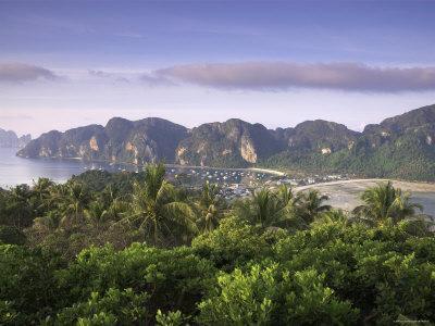 Ko Nok and Ton Sai Village from Ko Nai Viewpoint, Ko Phi Phi, Thailand