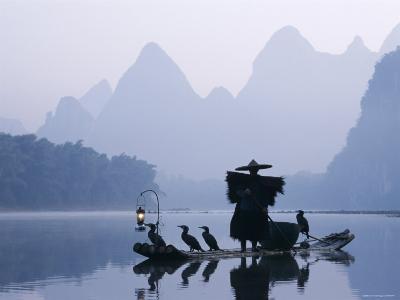 Cormorant Fishermen, Li River, Yangshou, Guilin, Guangxi Province, China