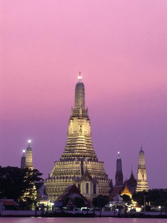 Temple of Dawn and Chao Phraya River, Night View, Bangkok, Thailand