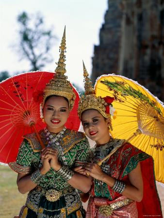 Girls Dressed in Traditional Dancing Costume, Bangkok, Thailand