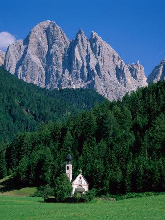 Dolomites Mountains and St Giovanni Church, Villnoss, Val Di Funes, Trentino, Italy