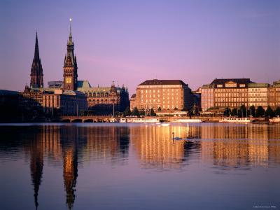 City Skyline and Binnenalster Lake, Hamburg, Schleswig-Holstein, Germany