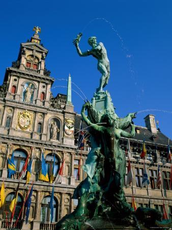 Brabo Fountain and Town Hall, Antwerp, Eastern Flanders, Belgium