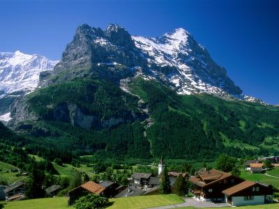 Town and Mountains, Grindelwald, Alps, Switzerland