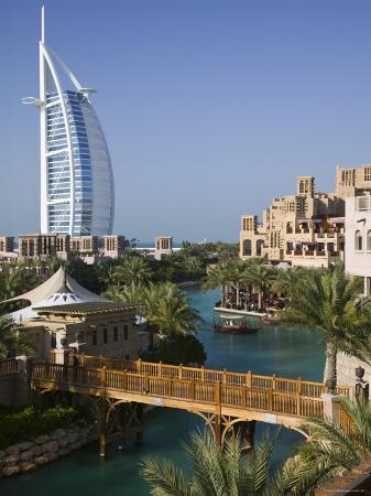Burj Al Arab Hotel from the Madinat Jumeirah Complex, Dubai, United Arab Emirates