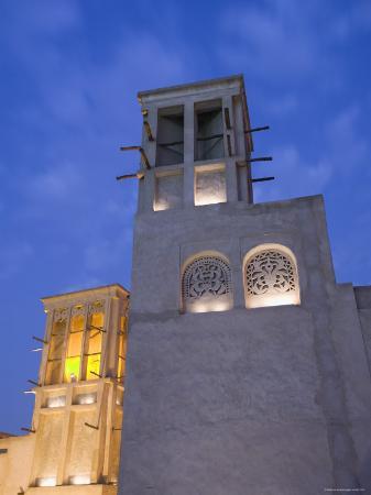 Traditional Wind Tower Buildings, Old Dubai, Bastakia Quarter, Bur Dubai, Dubai, UAE