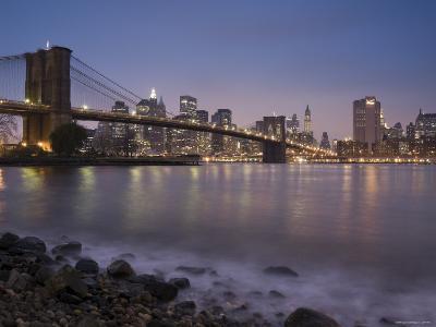 Lower Manhattan and Brooklyn Bridge, New York City, USA