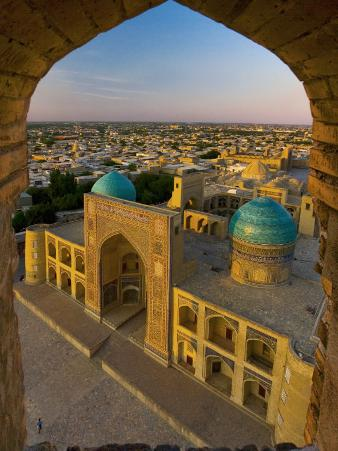 Mir-I-Arab Madrassah from Kalon minaret, Bukhara, Uzbekistan