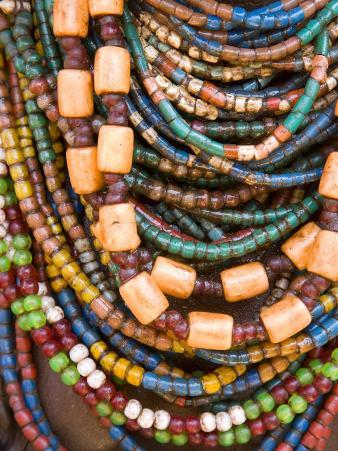 Colourful Beads Worn by a Woman of the Galeb Tribe, Lower Omo Valley, Ethiopia