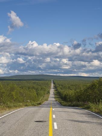 Arctic Road Towards Kilpisjarvi, Arctic Circle, Lapland, Finland